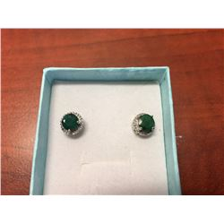 NEW GREEN EMERALD & DIAMOND EARRINGS, ROUND CUT HALO SETTING, STERLING SILVER, POST & BUTTERFLY