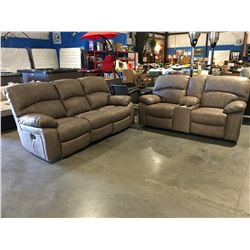 2 PCE DELUXE POWER RECLINING (INCLUDING HEADREST) SOFA & LOVESEAT SET (DRIFTWOOD BEIGE MICROFIBER