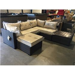 4 PCE OUTDOOR PATIO SECTIONAL SOFA SET - BROWN & BEIGE