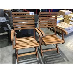 PAIR OF TEAKWOOD OUTDOOR FOLDING PATIO CHAIRS (MINOR DAMAGE 1 BOTTOM BACK BOARD)