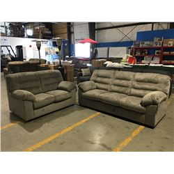 2 PC CONTEMPORARY GREY UPHOLSTERED SOFA & LOVE SEAT SET