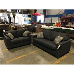 2 PC CONTEMPORARY DARK GREY UPHOLSTERED SOFA & LOVE SEAT SET WITH 4 THROW CUSHIONS