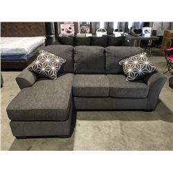 2 PC UPHOLSTERED GREY SOFA LOUNGER WITH 2 THROW CUSHIONS