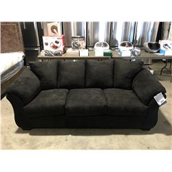 BLACK MICROFIBER SUEDE UPHOLSTERED 3 SEATER SOFA