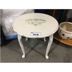 SHABBY CHIC STYLE WHITE SIDE TABLE WITH CAFES LEGUNES IMPRINT