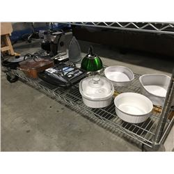 SHELF LOT OF SMALL KITCHEN APPLIANCES, GRILL, COPPER CHEF PAN, WAFFLE MAKER ETC.