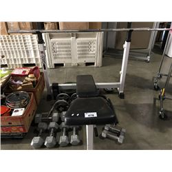 WEIGHT BENCH WITH ASSORTED BAR BELLS & DUMB BELLS