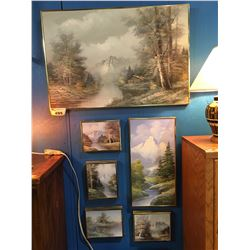 GROUP OF 6 BRASS FRAMED ORIGINAL OIL ON CANVAS PAINTINGS