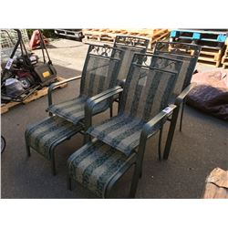 4 GREEN ALUMIMUN PATIO CHAIRS & 2 MATCHING STOOLS