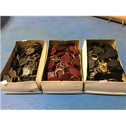 3 BOXES OF GENUINE FISH SKIN LEATHER KEY CHAINS (GREY/BURGUNDY & BLACK) APPROX 2OO KEYCHAINS