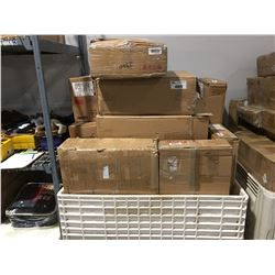 PALLET LOT NEW BOXED FURNITURE ITEMS, SOFA TABLES, END TABLES, MAGAZINE TABLES ECT (WHITE PLASTIC