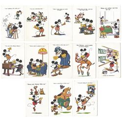 Collection of (13) Mickey Mouse Postcards.