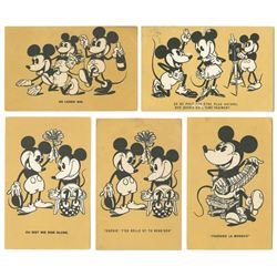 Collection of (5) Mickey Mouse Postcards.