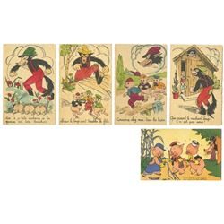"Collection of (5) ""Three Little Pigs"" Postcards."