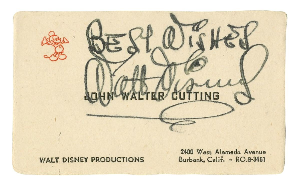 Walt disney signed business card image 1 walt disney signed business card colourmoves