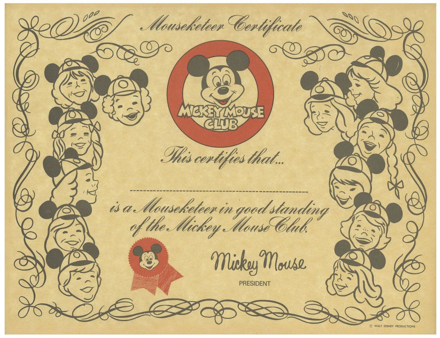 Mickey Mouse Club Unused Mouseketeer Certificate