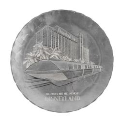 Disneyland Hotel & Monorail Hand-Crafted Metal Plate.