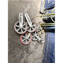SET OF WEDGE CLAMP MEASURING TOOLS & 4 HEAVY DUTY WHEELS