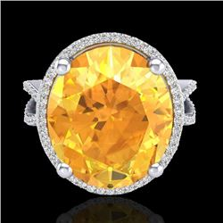 10 CTW Citrine & Micro Pave VS/SI Diamond Halo Ring 18K White Gold - REF-80T2M - 20958