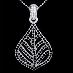 1.25 CTW Micro Pave Black & VS/SI Diamond Necklace Designer 18K White Gold - REF-136Y4K - 21283
