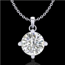 1 CTW VS/SI Diamond Solitaire Art Deco Stud Necklace 18K White Gold - REF-345M5H - 37232