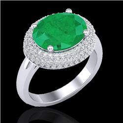 4.50 CTW Emerald & Micro Pave VS/SI Diamond Ring 18K White Gold - REF-119H6A - 20913