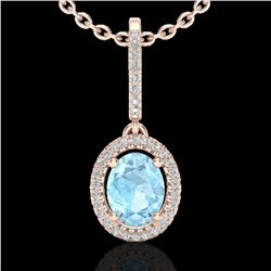 1.75 CTW Aquamarine & Micro VS/SI Diamond Necklace Halo 14K Rose Gold - REF-60W8F - 20649
