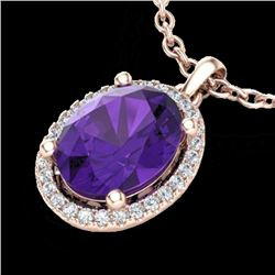 2.50 CTW Amethyst & Micro Pave VS/SI Diamond Necklace Halo 14K Rose Gold - REF-39W5F - 21066