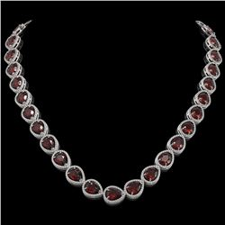 36.8 CTW Garnet & Diamond Halo Necklace 10K White Gold - REF-592W9F - 41231