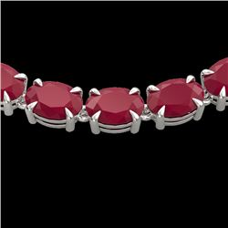 68 CTW Ruby Eternity Designer Inspired Tennis Necklace 14K White Gold - REF-234X9T - 23407