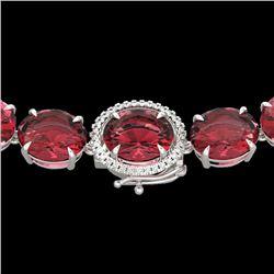 145 CTW Pink Tourmaline & VS/SI Diamond Halo Micro Necklace 14K White Gold - REF-1955F6N - 22310