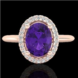 1.75 CTW Amethyst & Micro VS/SI Diamond Ring Solitaire Halo 14K Rose Gold - REF-40H2A - 20997