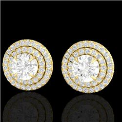 2 CTW Micro Pave VS/SI Diamond Stud Earrings Double Halo 18K Yellow Gold - REF-242K4W - 21471
