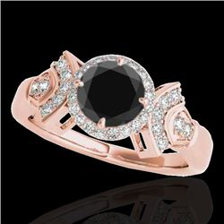 1.56 CTW Certified VS Black Diamond Solitaire Halo Ring 10K Rose Gold - REF-69W3F - 34332