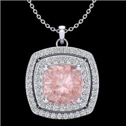 1.97 CTW Morganite & Micro VS/SI Diamond Halo Necklace 18K White Gold - REF-78F5N - 20460