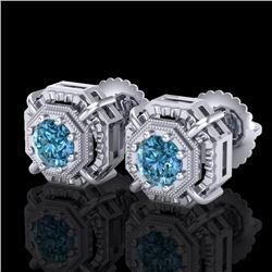 1.11 CTW Fancy Intense Blue Diamond Art Deco Stud Earrings 18K White Gold - REF-158W2F - 37453