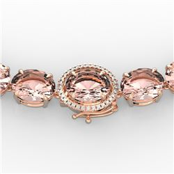 148 CTW Morganite & VS/SI Diamond Halo Micro Pave Necklace 14K Rose Gold - REF-1719T8M - 22305