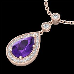 2.25 CTW Amethyst & Micro Pave VS/SI Diamond Necklace Designer 14K Rose Gold - REF-40A2X - 23128
