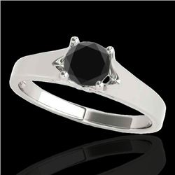 1 CTW Certified VS Black Diamond Solitaire Ring 10K White Gold - REF-45H3A - 35158