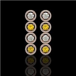 5.50 CTW Canary Yellow & White Diamond Designer Earrings 18K Rose Gold - REF-789X5T - 42603