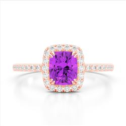1.25 CTW Amethyst & Micro Pave VS/SI Diamond Halo Ring 10K Rose Gold - REF-34T5M - 22896