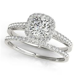 0.93 CTW Certified VS/SI Cushion Diamond 2Pc Set Solitaire Halo 14K White Gold - REF-142T2M - 31388