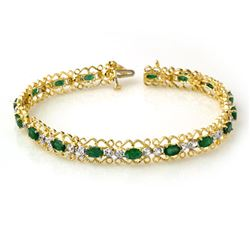 4.02 CTW Emerald & Diamond Bracelet 10K Yellow Gold - REF-69M3H - 14505