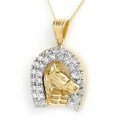 1.25 CTW Certified VS/SI Diamond Pendant 14K Yellow Gold - REF-129H3A - 14428