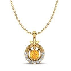 0.20 CTW Citrine & Micro Pave VS/SI Diamond Halo Necklace 18K Yellow Gold - REF-22W8F - 20362