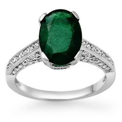 3.25 CTW Emerald & Diamond Ring 10K White Gold - REF-70F9N - 11883
