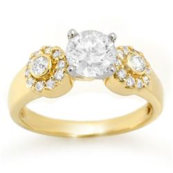 1.38 CTW Certified VS/SI Diamond Ring 14K Yellow Gold - REF-351T3M - 11358