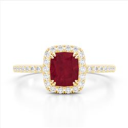 1.25 CTW Ruby & Micro Pave VS/SI Diamond Halo Ring 10K Yellow Gold - REF-34Y2K - 22909