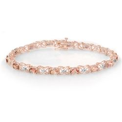 6.0 CTW Pink Tourmaline & Diamond Bracelet 18K Rose Gold - REF-132N5Y - 14140