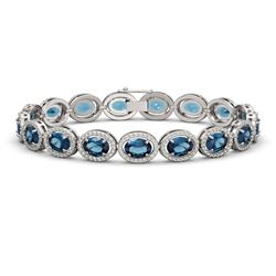 24.32 CTW London Topaz & Diamond Halo Bracelet 10K White Gold - REF-256Y8K - 40637